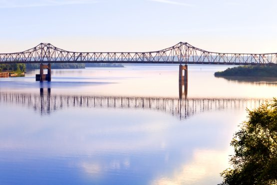 View of the bridge over the Illinois River leading into Peoria IL